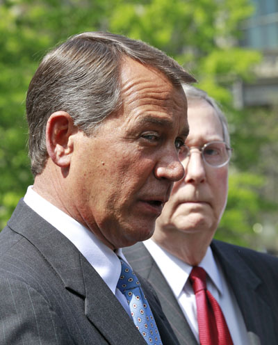 House Minority Leader John Boehner of Ohio, left, offered his own proposals today, saying that Congress should freeze all tax rates for two years and should cut federal spending to the levels of 2008, before the deep recession took hold.