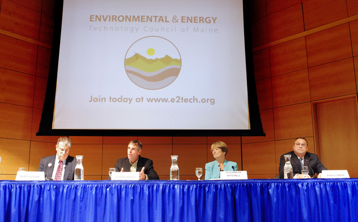 Gubernatorial candidates Eliot Cutler, Shawn Moody, Libby Mitchell and Paul LePage attend a debate this morning at the University of Southern Maine in Portland. The debate, which focused on environmental and energy issues, was sponsored by the Technology Council of Maine.