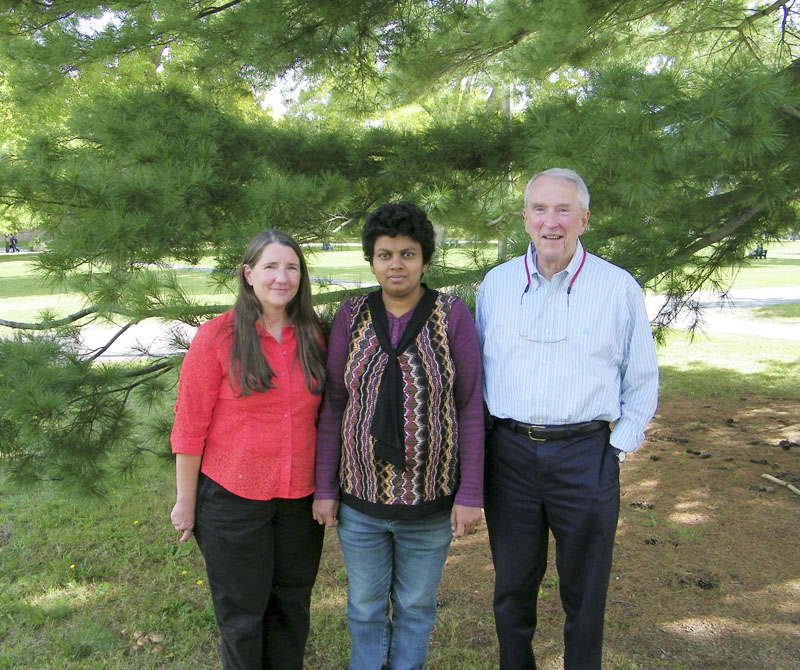University of Maine chemistry department researchers – from left, Barbara Cole, Gedivinne Nilmini and Ray Fort – have discovered that a rare starter material for the anti-flu drug Tamiflu can be found in white pine tree needles.