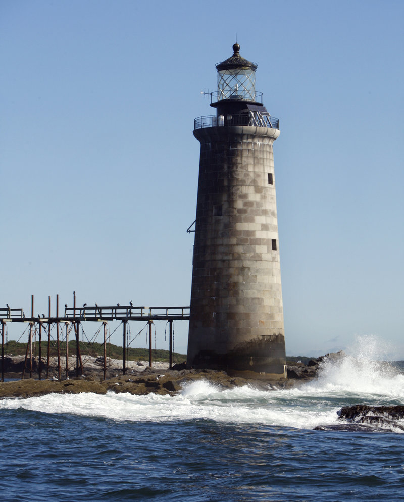 Ram Island Ledge Light has marked the main channel to Portland Harbor since 1905. The 72-foot-tall tower is made of granite blocks and has an enameled-brick interior with stairs winding up the inside, topped by a light in the cupola.