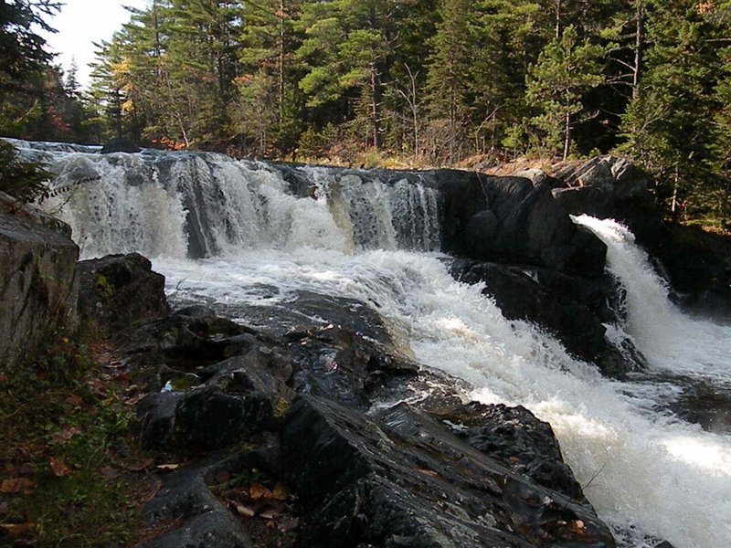 Grand Pitch Falls provide a highlight of the walk from Webster Lake to Matagamon Lake, paralleling Webster Stream, in the Scientific Forest Management Area of northern Baxter State Park.
