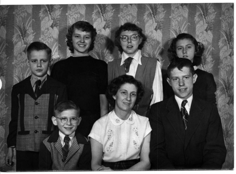 Betty White is pictured with her children, back row from left, Raymond White, Nancy Ripley, Marlene Peach and Brenda Bloss, with Alan White, front row left, and Ronald White, right.