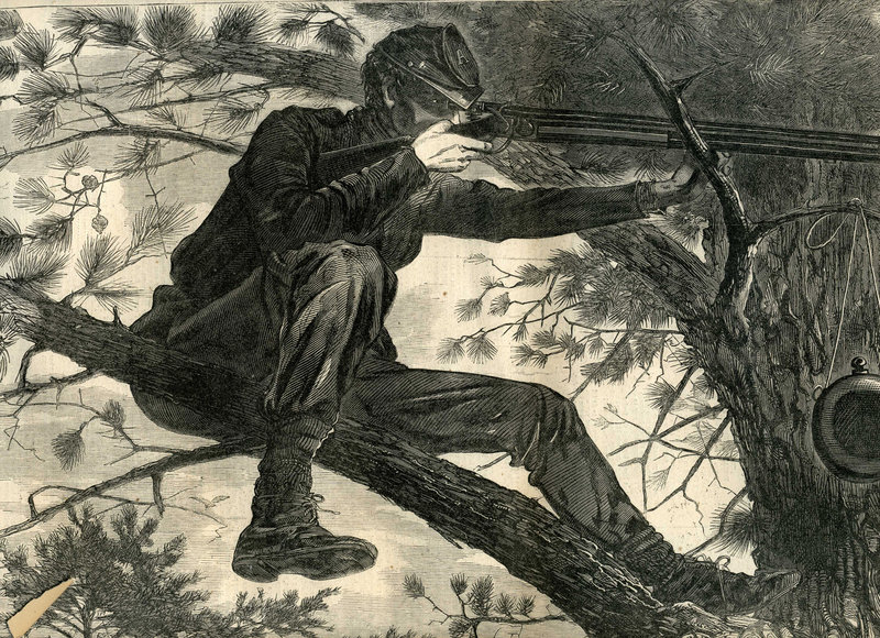 """Homer's """"The Army of the Potomac – A Sharpshooter on Picket Duty"""" (large detail), wood engraving, 1862, is at the Saco Museum."""