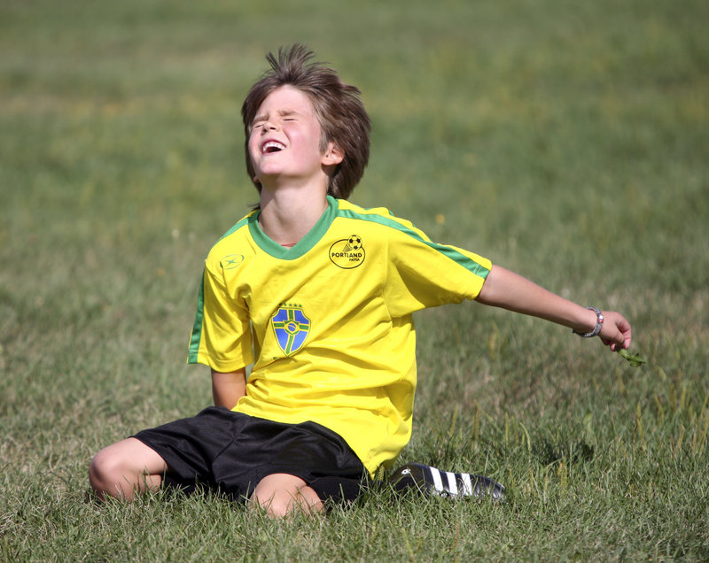 Aidan Kieffer of Team Brazil reacts after missing a shot on goal during his U8 match with England. PAYSA recreational division teams are grouped by gender and age and play about six games each fall.