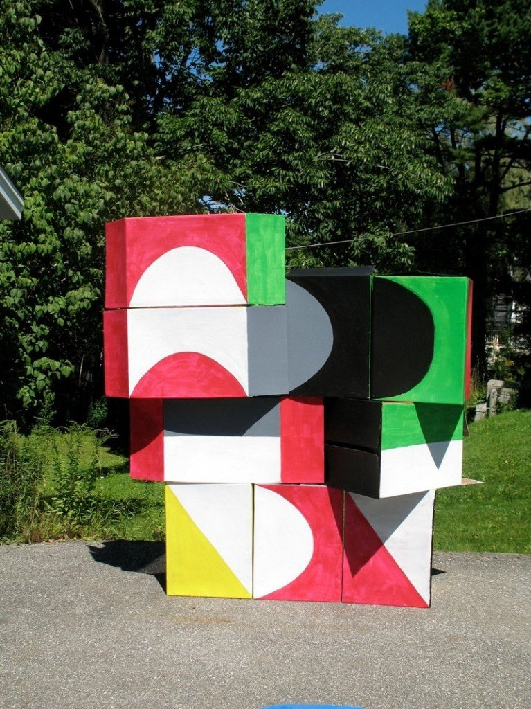 Space alums Matt Phillips and Meghan Brady have created a modular street mural of 20-plus cardboard boxes in bold, geometric patterns. Move them around and see what looks cool.