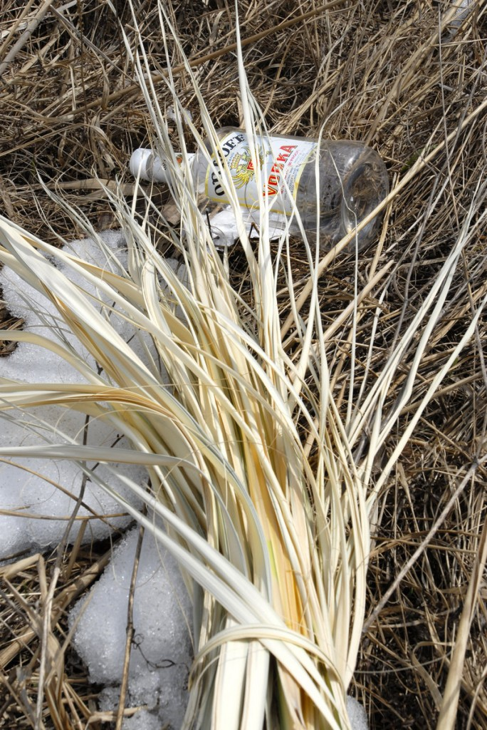 An empty liquor bottle is among the trash found near Scarborough Marsh in a trash pickup campaign.
