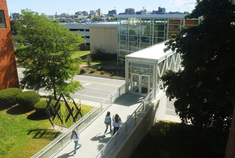 Students walk to class on the University of Southern Maine's Portland campus. The American Institute for Economic Research rated the city 20th among similar-sized peers in an assessment of factors including quality of life, academic environment, and cost of living for college students.