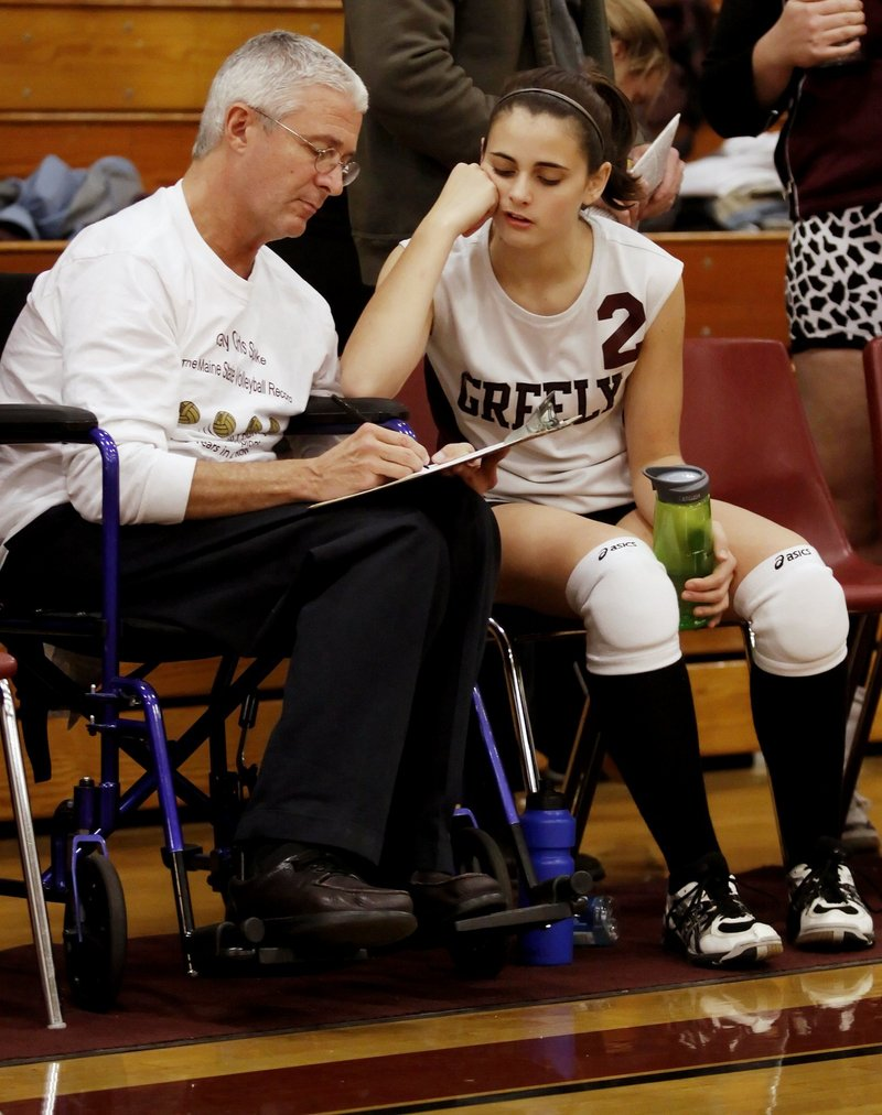 Bruce Churchill decided to step away from his obstetrics practice as he deals with Lou Gehrig's disease, but he's continuing to help coach the Greely volleyball team.