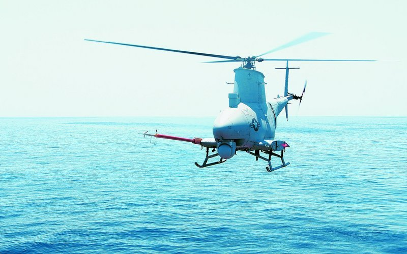 The U.S. Navy provided this picture of a MQ-8B Fire Scout flying in 2009. A similar aircraft went off course last month and entered restricted airspace near the nation's capital.