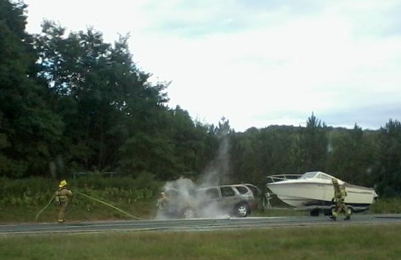 A car trailing a boat caught fire in the northbound lanes of Interstate 295 in Freeport on Thursday, snarling afternoon rush-hour traffic. The fire broke out at 5 p.m. north of Exit 17. There were no reports of injuries.