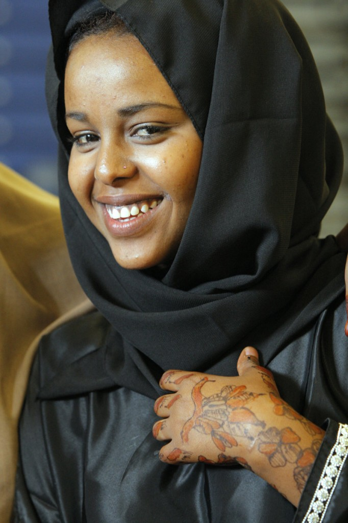 Sumaya Mohamed had intricate patterns of henna applied to her hands for the Eid al Fitr celebration at the Expo. The event was organized by the Islamic Society of Portland.