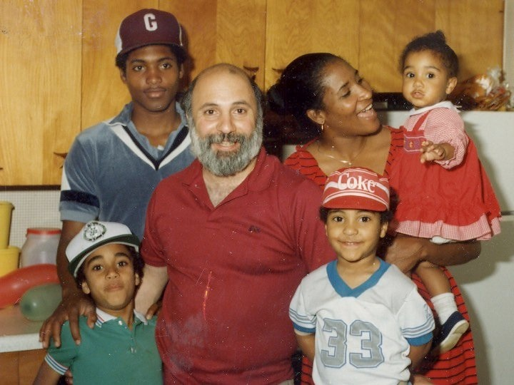 Henry Amoroso in the 1980s with his sons Justin at bottom left, Perry in the