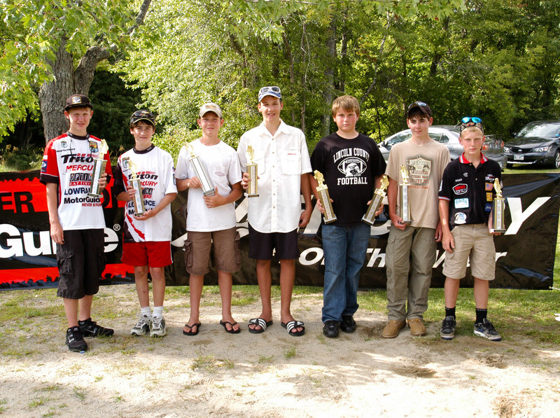 Anglers in the tournament included, from left, Brian Volkernick, Alex Williamson, Hunter Beyea, Chase Laflamme, Woodbury, Jonathan Curran and Hunter Reed. Volkernick of Dixfield won second place in the 15-18 age group with a total of 8.45 pounds, and Laflamme of East Waterboro was third at 6.53 pounds. Curran of Kennebunk won first place in the 11-14 age group, with 7.68 pounds total. Williamson of Gorham was second at 6.16 pounds and Reed of Georgetown was third with 4.48 pounds.