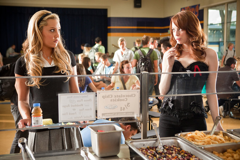 "Amanda Bynes, left, and Emma Stone in ""Easy A."""