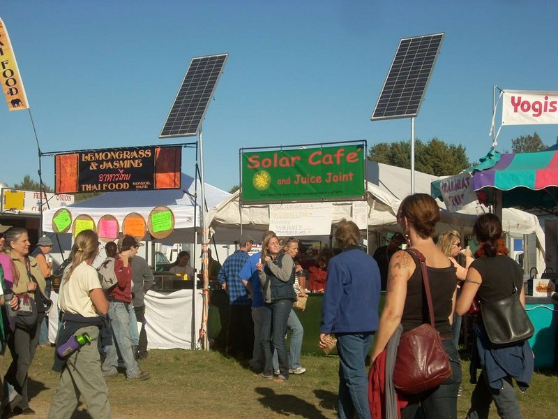 Among the more than 60 food vendors at this year's Common Ground Country Fair will be, both pictured here, Lemongrass & Jasmine Thai Food, serving stir fries, and Solar Cafe, serving smoothies, vegetable juices, tofu scrambles and quesadillas, all prepared using solar power.