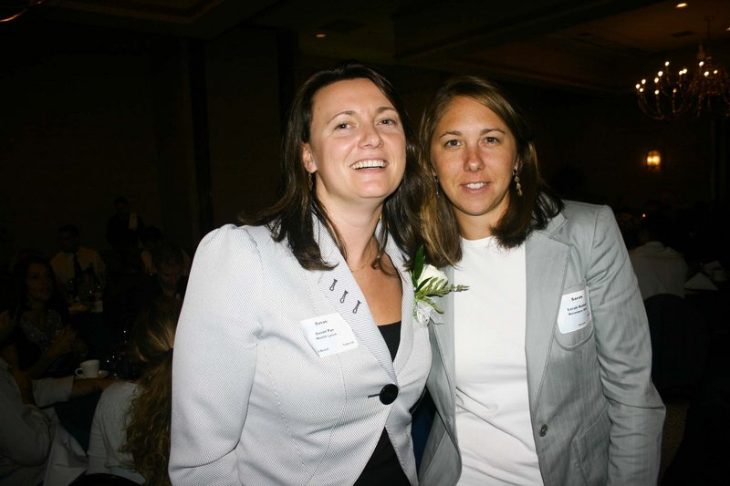 Volunteer of the Year Susan Pye, of Merrill Lynch, and Sarah Kutzen, of Vont Web Marketing. Both are active in PROPEL, the young professional arm of the chamber.