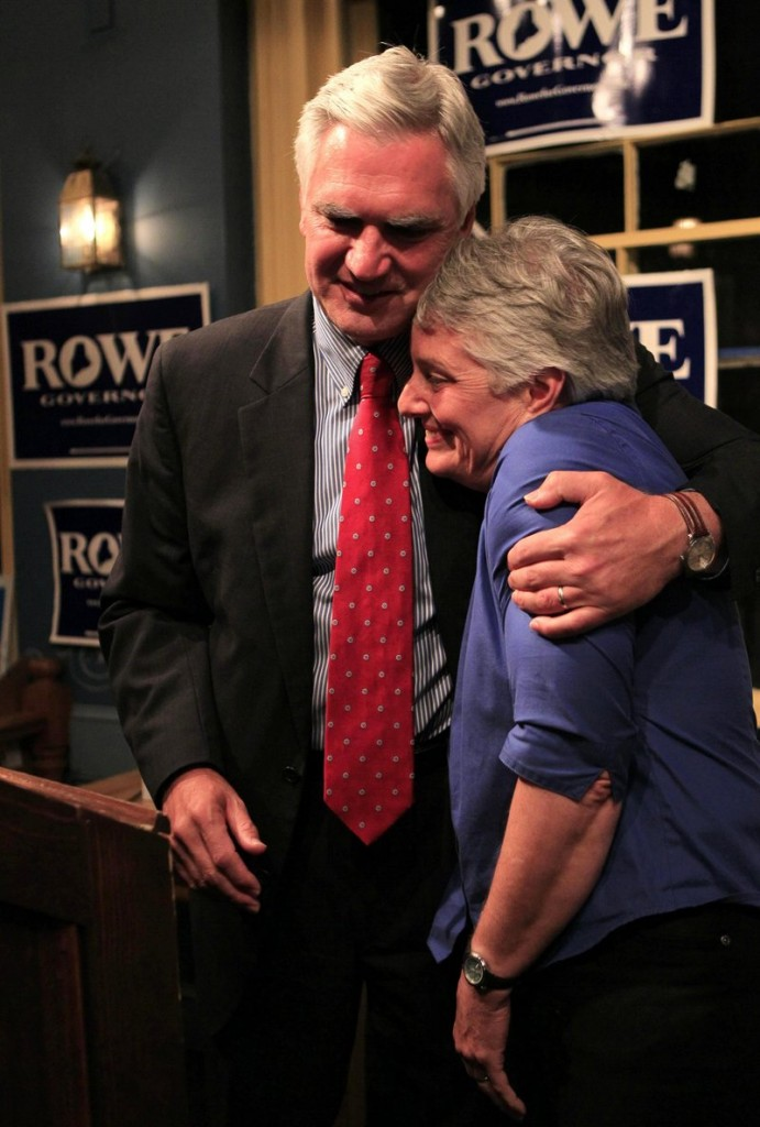 Democratic gubernatorial candidate Steve Rowe hugs his wife, Amanda, after conceding to Libby Mitchell at his primary election night party on June 8 in South Portland. Rowe is now practicing law with Verrill Dana in Portland.