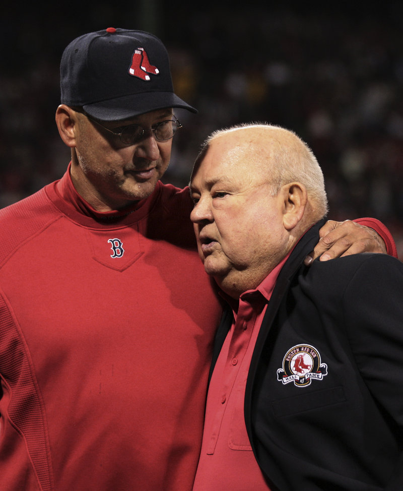 Red Sox Manager Terry Francona hugs Don Zimmer, the former Red Sox manager who was one of the inductees Friday night into the Red Sox Hall of Fame. Zimmer managed the Red Sox from 1976-80.