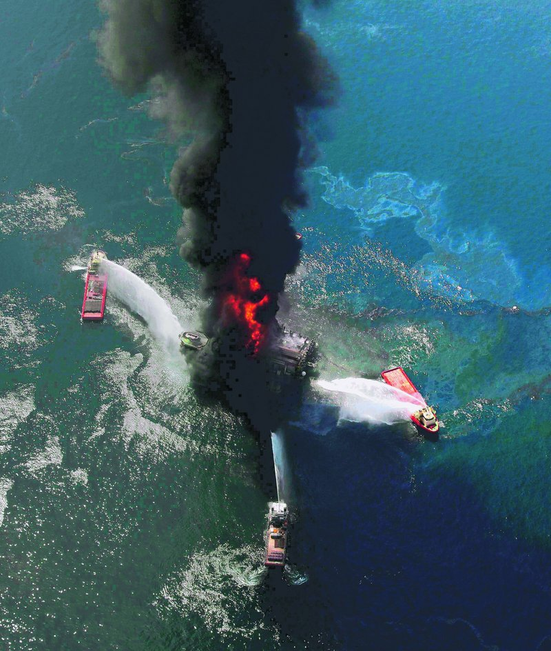 The Deepwater Horizon oil rig is seen burning in the Gulf of Mexico on April 21, a day after an explosion killed 11 workers and set off an oil spill estimated at 206 million gallons – the worst in U.S. history.