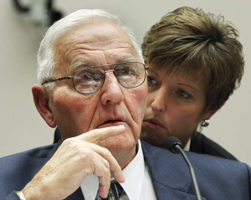 "Wright County Egg owner Austin ""Jack"" DeCoster confers with attorney Jan Kramer Wednesday as he testifies before a House Oversight and Investigations subcommittee hearing."