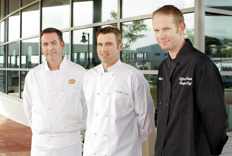 From left, chefs William Clifford of the Portland Harbor Hotel, Kelly Patrick Farrin of Azure Café in Freeport and Clifford Pickett of DiMillo's in Portland are the three finalists in the Maine Lobster Chefs of the Year competition. The three will compete at Portland's Harvest on the Harbor festival on Oct. 22.