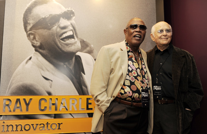 Sam Moore and Norman Lear visit the Ray Charles Memorial Library.