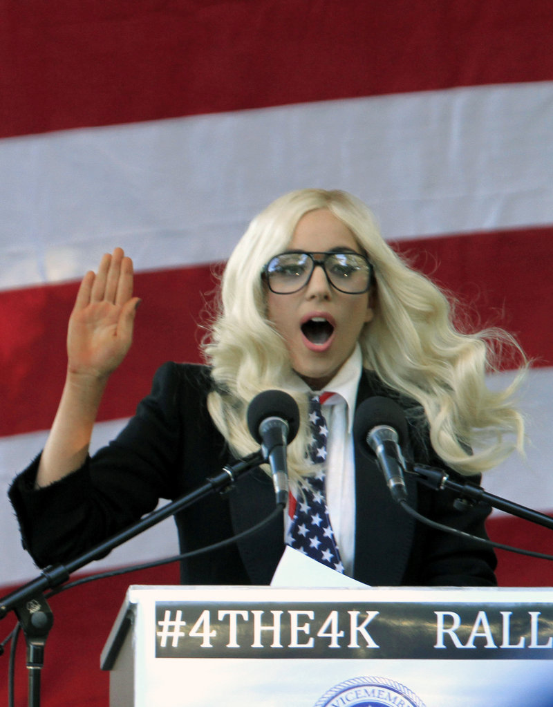 Entertainer Lady Gaga speaks at a rally this week at Deering Oaks in support of repealing the military's 'don't ask, don't tell' policy.