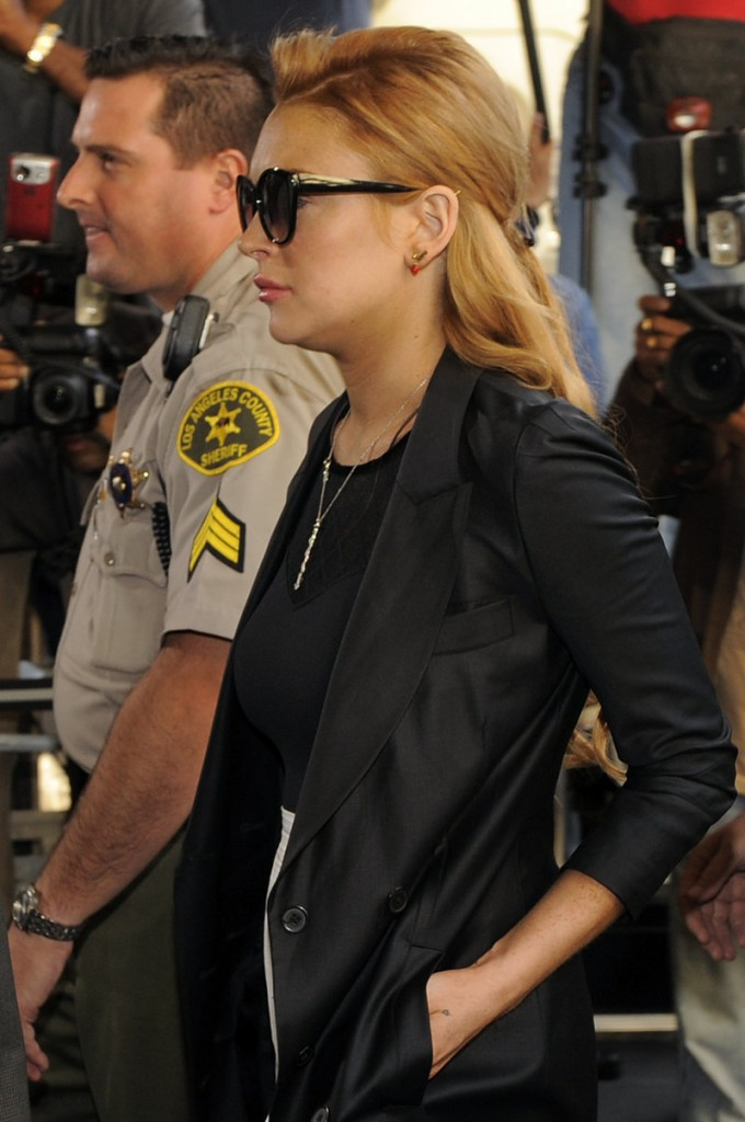 Lindsay Lohan arrives for a court hearing in Beverly Hills, Calif., on Friday. She was released on bail later that night, at 11:40.