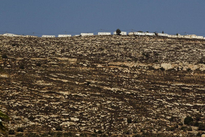 This photo taken Sept. 21 shows mobile homes at the top of a hill near the West Bank Jewish settlement of Eli. About 300.000 settlers live in the West Bank.
