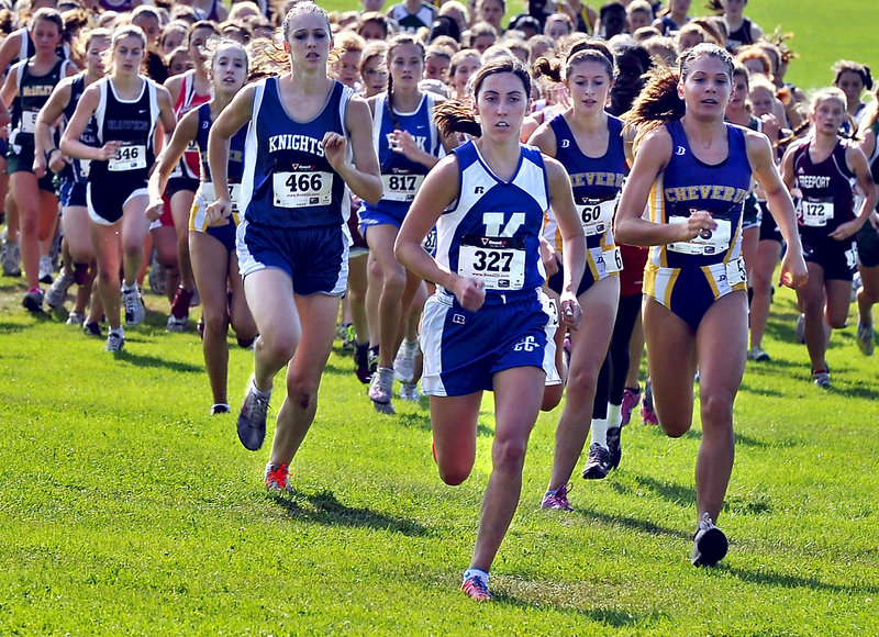Abbey Leonardi of Kennebunk takes the lead at the start of the race and wasn't threatened while running to the girls' title in 18 minutes, 40 seconds. The event brought together cross country teams regardless of class.