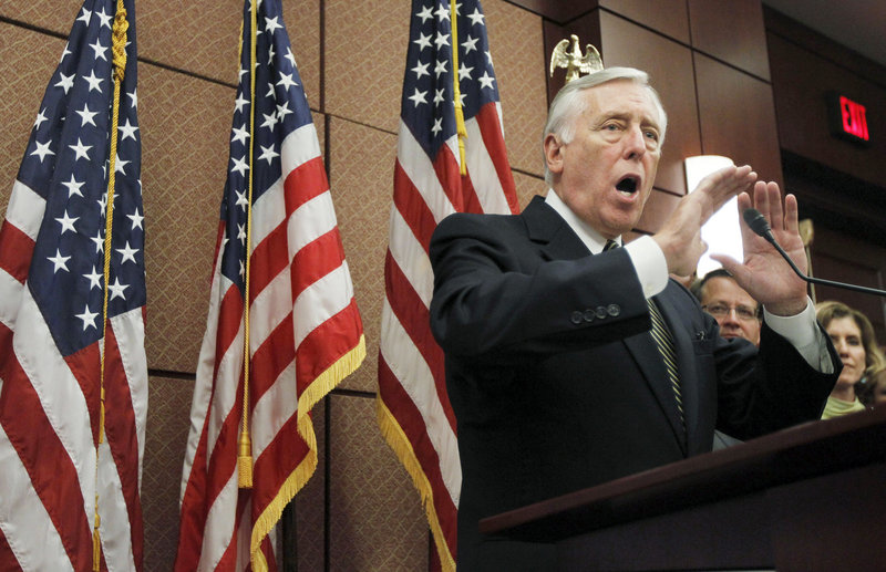 House Majority Leader Steny Hoyer of Maryland speaks during a news conference in Washington on Thursday. On Sunday, Hoyer predicted that Democrats will be successful at extending tax cuts for the middle class.