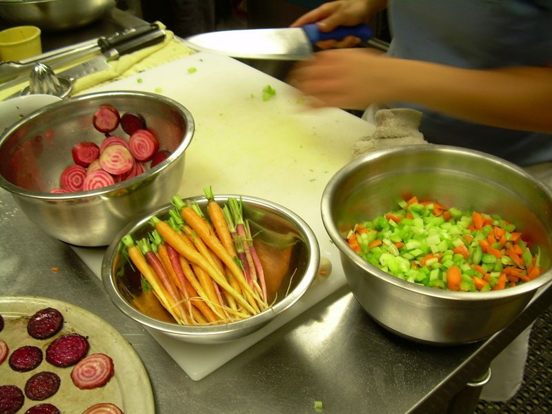 Beets, carrots and celery from Well Fed Farm are prepped for dinner at Paolina's Way.
