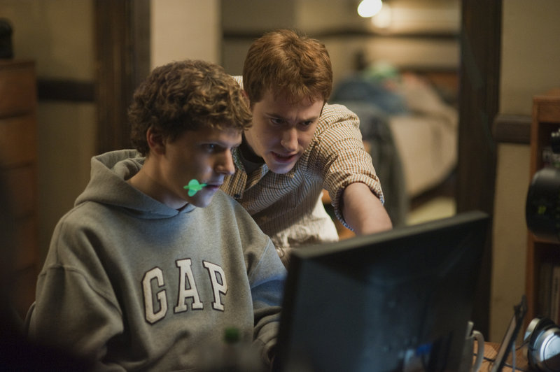 Jesse Eisenberg, left, and Joseph Mazzello in