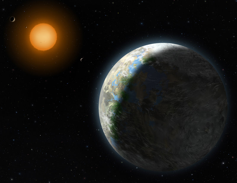 An artist's rendering provided by Lynette Cook, National Science Foundation, shows a new planet, right. Astronomers have found a planet that is in the Goldilocks zone – just right for life. And it is only 120 trillion miles from Earth.