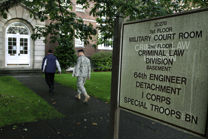 A pretrial hearing for U.S. Army Spec. Jeremy Morlock of Wasilla, Alaska, is under way in this military court building at Joint Base Lewis-McChord in Washington state. Morlock is one of four soldiers charged, along with Staff Sgt. Calvin R. Gibbs, in the killing of three unarmed Afghans in May.