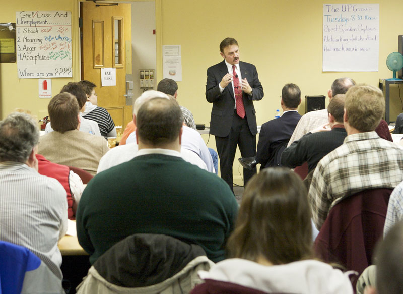 Bob Labrie speaks to a packed room providing tips about interviewing for jobs at the Career Center in Portland in 2008.