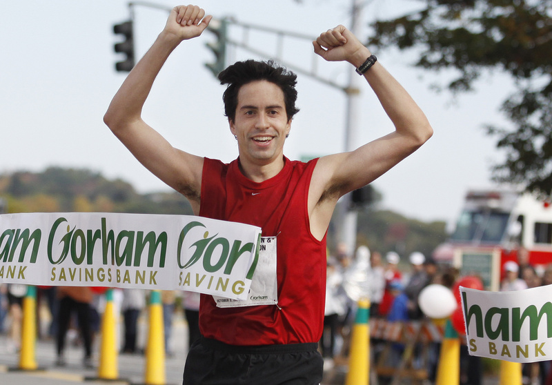 Jeremy Adler of New York City wins the 2010 Maine Marathon in Portland on Sunday. Adler also won the race in 2009.