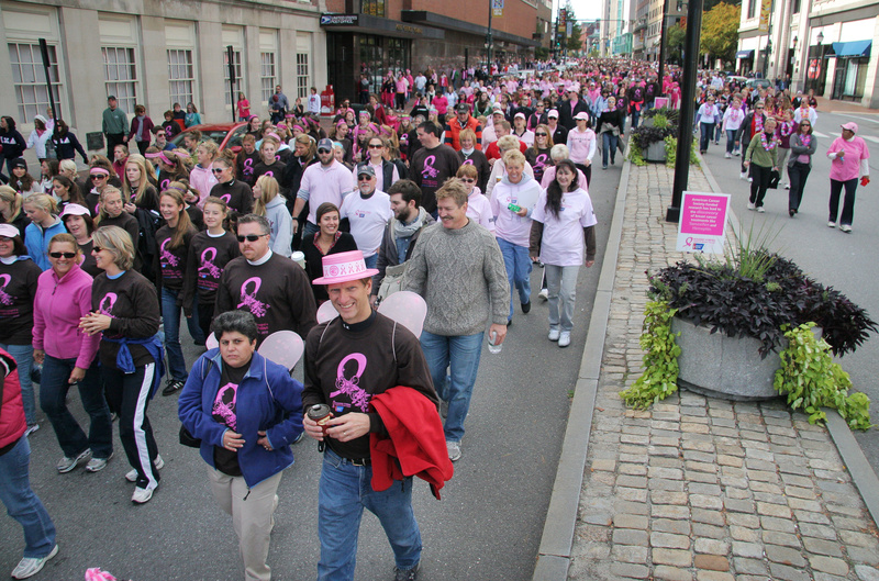 Teams of walkers fill Congress Street during the American Cancer Society's Making Strides Against Breast Cancer Walk in Portland today.