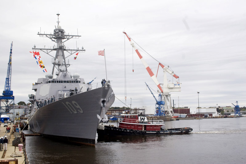 The 510-foot Aegis destroyer Jason Dunham departs Bath Iron Works en route to Fort Lauderdale, Fla.