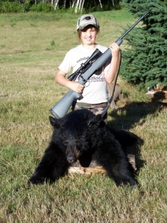 Aurora Morin of Sidney turned 10 on Sept. 6, and four days later shot a 152-pound bear while hunting with Katahdin's Shadow Outfitters in Haynesville. It took her just 40 minutes of sitting in a ground blind before she saw her first bear. After several tense moments of watching it, she had the shot she wanted and squeezed the trigger.