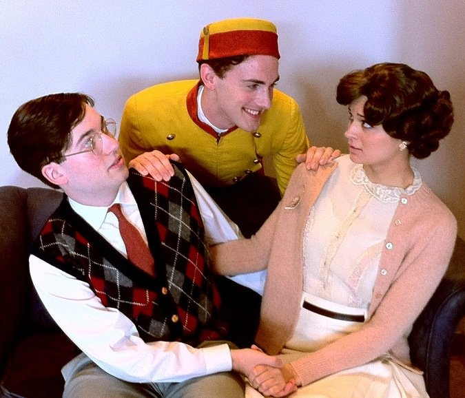 "Jacob Cote, left, Kyle Skillin and Rylee Doiron in USM's ""Lend Me a Tenor."""