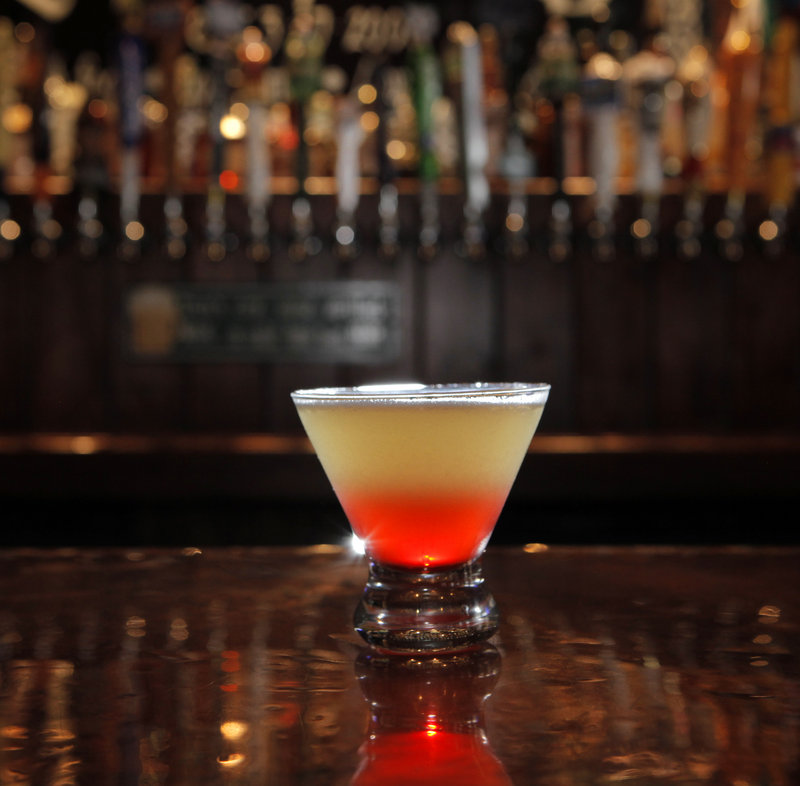 A Galway Bay Sunset martini at Byrnes Irish Pub in Brunswick is made with Boru Irish Crazzberry Vodka, Triple Sec and pineapple juice shaken and strained into a chilled martini glass and topped with grenadine.