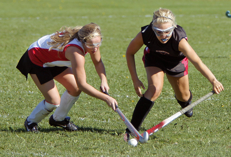 Rachael Millett, right, and her Scarborough teammates are the No. 1 seed in the Western Class A field hockey playoffs.