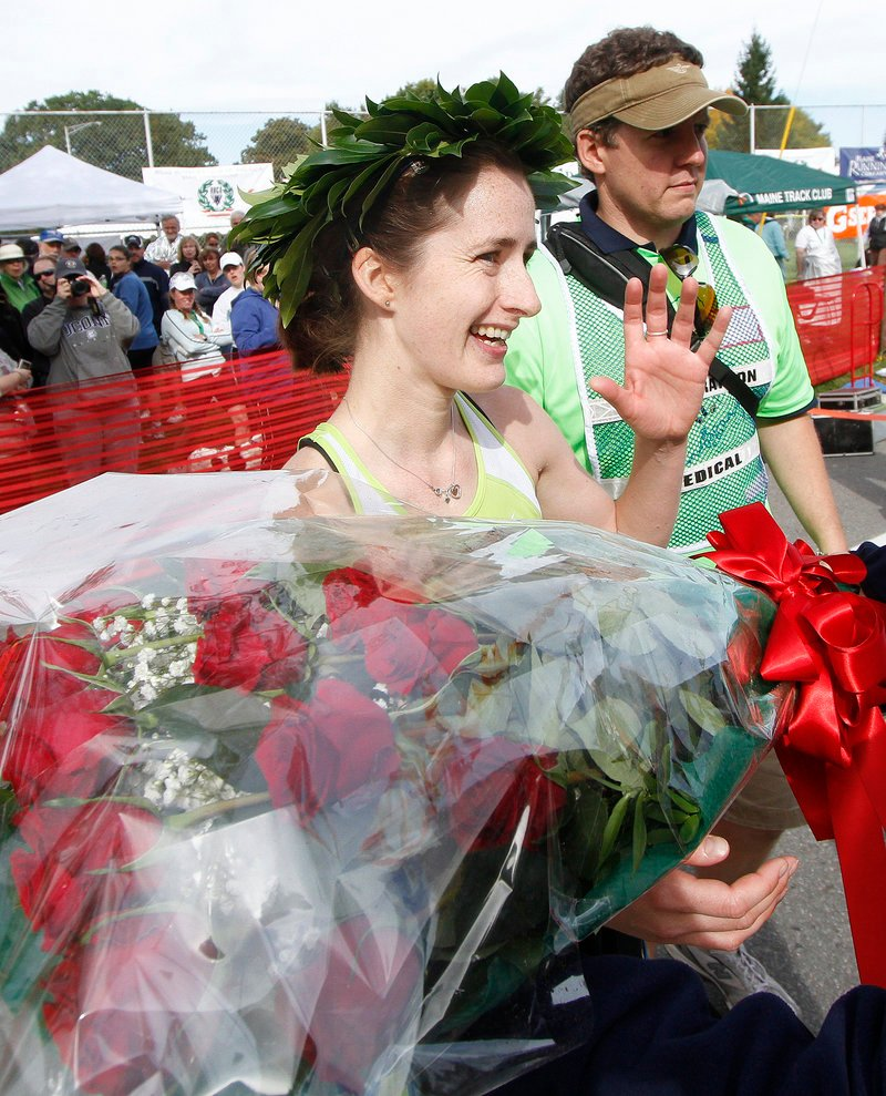 Jenny Jorgensen, of Glastonbury, Conn., had never been to Maine. She made her first trip here one to remember, winning the women's title in 3:00.55.