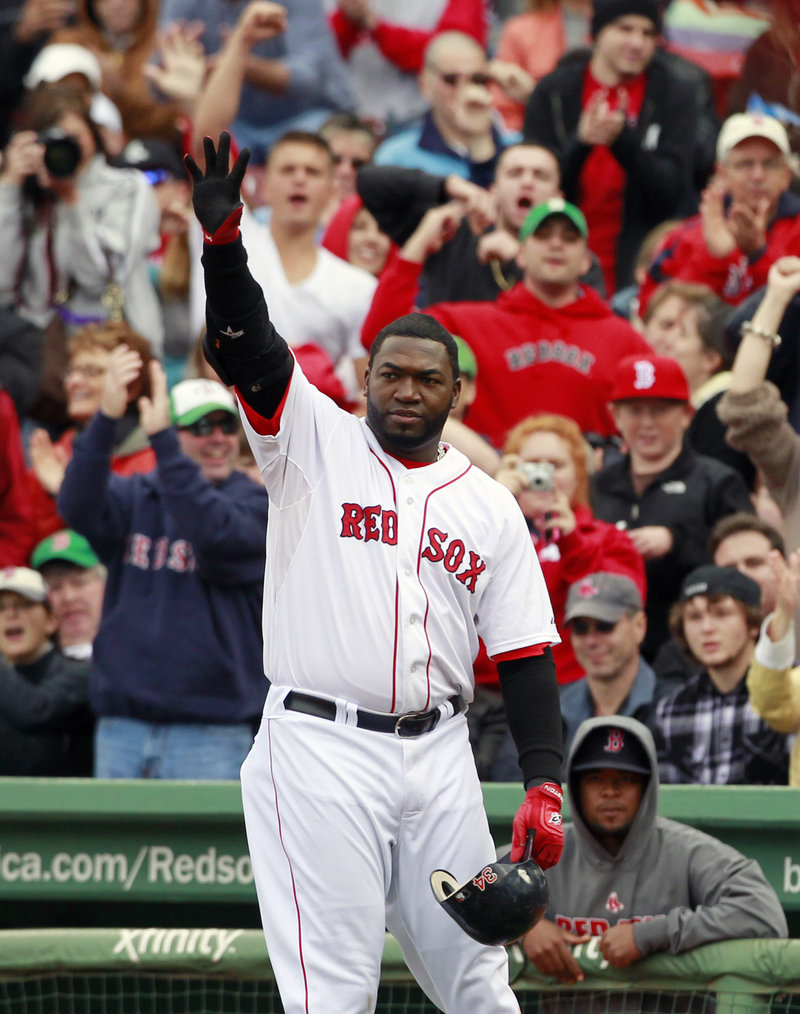 David Ortiz waves to the crowd at Fenway Park after leaving the game in the sixth inning Sunday. He could become a free agent if Boston declines his $12.5 million option.