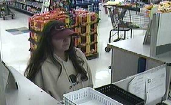 Police are seeking this woman in the robbery of a pharmacy in Waterboro.