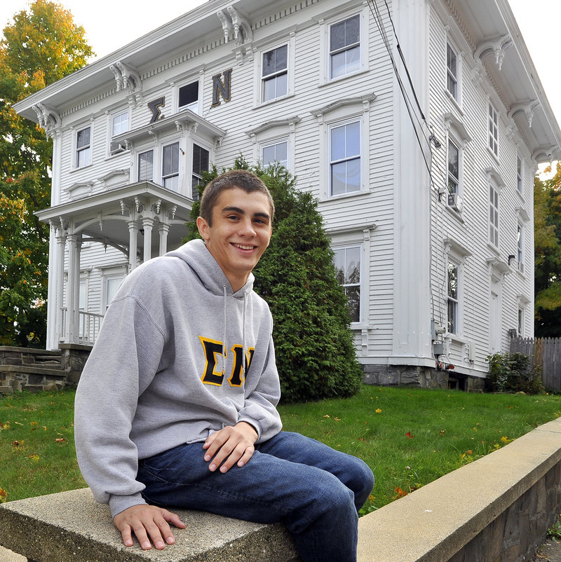 """Dan Santos, a member of the Sigma Nu fraternity in Gorham, says the proposals that Gorham town councilors passed Tuesday don't """"reflect the positive change that has happened over the past year."""""""