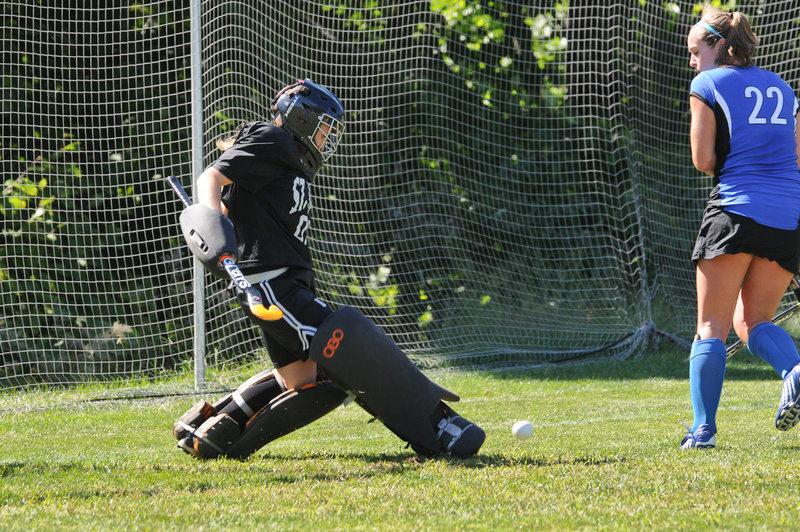 Meaghan Johnson has twice been named Great Northeast Athletic Conference field hockey goalie of the week and has helped the Monks to a6-2 record this season.