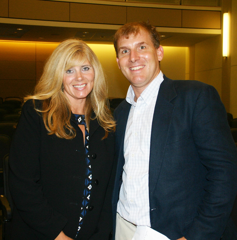 Sarah Halpin, with lead event sponsor The Danforth Group, and Curt Scribner Jr., who is chair of the board of trustees.