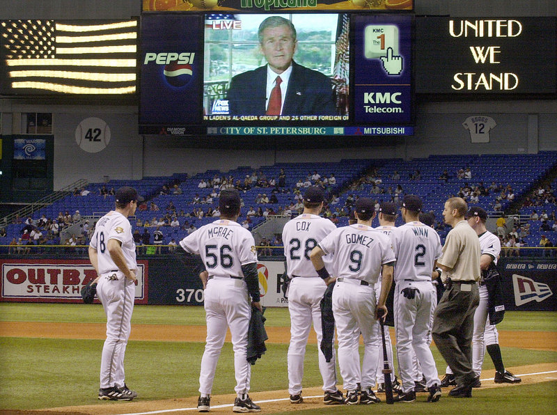 On Oct. 7, 2001, The Tampa Bay Devil Rays paused during a game in St. Petersburg, Fla., as President Bush informed the nation that airstrikes against the Taliban had begun in Afghanistan. Nine years later, the war goes on.